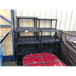 4 BLACK PLASTIC SHELVING UNITS
