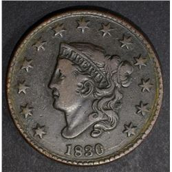1830 LARGE CENT, VF N-4 MED LETTERS