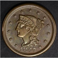 1847 LARGE CENT, AU/BU N-35 SCARCE