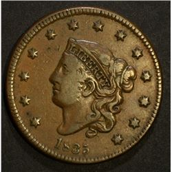 "1835 LARGE CENT SMALL ""8"" STARS VF/XF KEY"