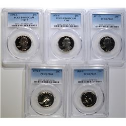 5 PROOF WASHINGTON QUARTERS ALL PCGS GRADED