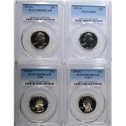 4 PROOF WASHINGTON QUARTERS ALL PCGS GRADED