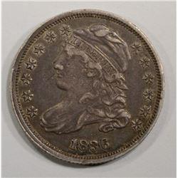 1836 CAPPED BUST DIME, AU