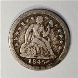 1845-O SEATED DIME, FINE  scratches KEY DATE
