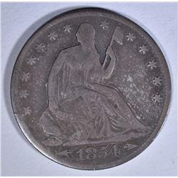 1854-O ARROWS SEATED HALF DOLLAR, VG/FINE