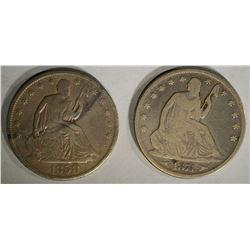 SEATED HALF DOLLARS;1858-O VG & 1874