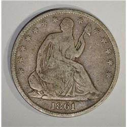 1861-O SEATED HALF DOLLAR, FINE