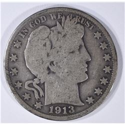 1913 BARBER HALF DOLLAR GOOD+