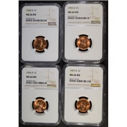 4 YEAR RUN OF D MINT LINCOLN CENTS NGC MS-66 RD
