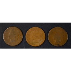 1868, 74 & 79 INDIAN CENTS, AG.G KEY DATES
