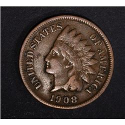 1908-S INDIAN HEAD CENT, FINE KEY COIN