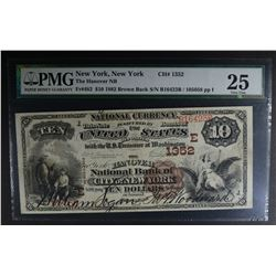 1882 BROWN BACK $10 NATIONAL CURRENCY  PMG 25