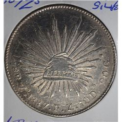 1887 Zs SILVER 8 REALES MEXICO