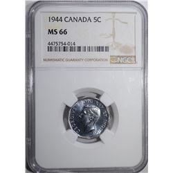 1944 CANADA 5 CENT NGC MS 66