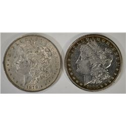 1878 REV 79 AU & 1885-S VF MORGAN DOLLARS