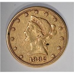 1882 $10.00 GOLD LIBERTY, VF/XF