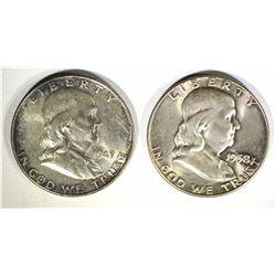 1949 & 58 FRANKLIN HALF DOLLARS, CH BU