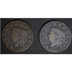 2 - 1822 LARGE CENTS VG