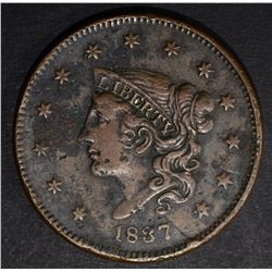 1837 LARGE CENT XF MINOR ROUGHNESS
