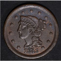 1843 LARGE CENT VF/XF