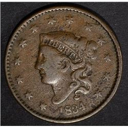 1834 LARGE CENT VF