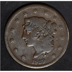 1839 BOOBY HEAD LARGE CENT FINE