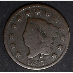 1827 LARGE CENT GOOD/VG -KEY DATE
