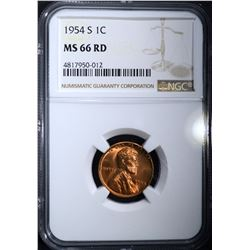 1954-S LINCOLN CENT NGC MS66RD
