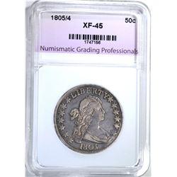 1805/4 BUST HALF DOLLAR, NGP XF/AU