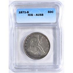 1871-S SEATED LIBERTY HALF DOLLAR ICG AU-58