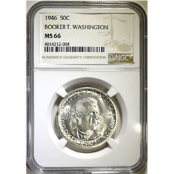 1946 B.T. WASHINGTON HALF DOLLAR, NGC MS-66