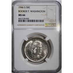 1946-S B. T. WASHINGTON HALF, NGC MS-66