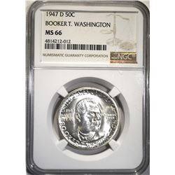 1947-D B.T. WASHINGTON HALF DOLLAR, NGC MS-66
