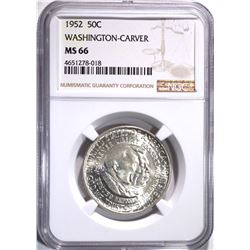 1952 WASH-CARVER HALF DOLLAR NGC MS-66