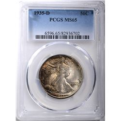 1935-D WALKING LIBERTY HALF, PCGS MS-65 COLOR!