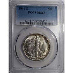 1941-S WALKING LIBERTY HALF, PCGS MS-65 GEM