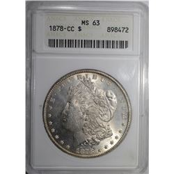 1878-CC MORGAN DOLLAR, ANACS MS-63