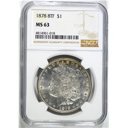 1878 8F MORGAN DOLLAR, NGC MS-63