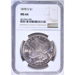 1878-S MORGAN DOLLAR, NGC MS-64