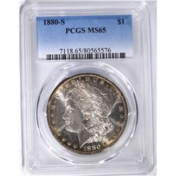 1880-S MORGAN DOLLAR, PCGS MS-65 FLASHY