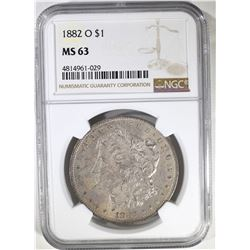 1882-O MORGAN DOLLAR, NGC MS-63