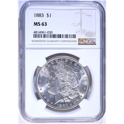 1883 MORGAN DOLLAR, NGC MS-63