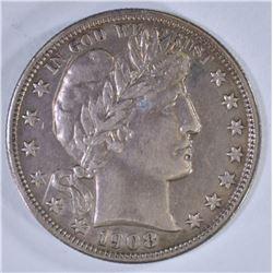 1908-D BARBER HALF DOLLAR  CH AU