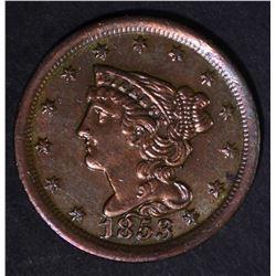 1853 HALF CENT  AU/BU