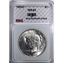 1923-D PEACE SILVER DOLLAR RNG CH BU
