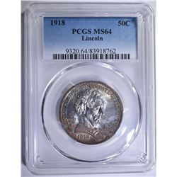 1918 LINCOLN COMMEM HALF DOLLAR PCGS MS-64