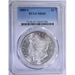 1880-S MORGAN SILVER DOLLAR PCGS MS-65