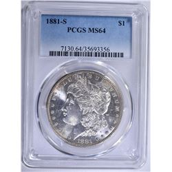 1881-S MORGAN SILVER DOLLAR PCGS MS-64