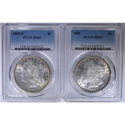 (2) MORGAN  DOLLARS PCGS MS-63 - 1882 & 1883-O