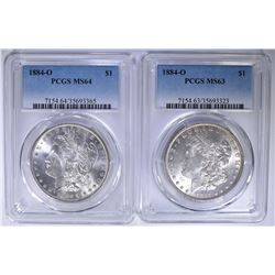 (2) 1884-O MORGAN DOLLARS - PCGS MS63 & MS-64